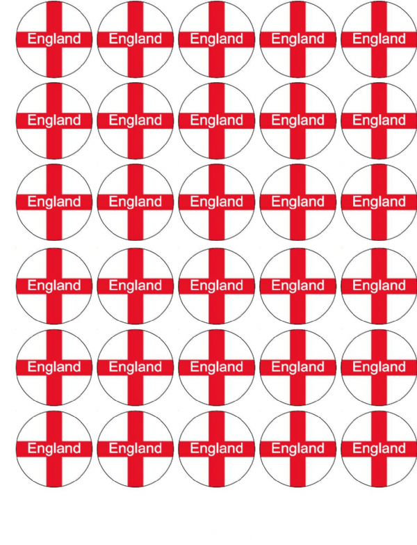 """ENGLAND"" ST GEORGE FLAG EDIBLE CUP CAKE TOPPER DECORATIONS"